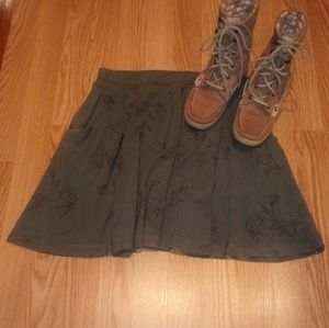 Rose army green Fall swing/mini skirt